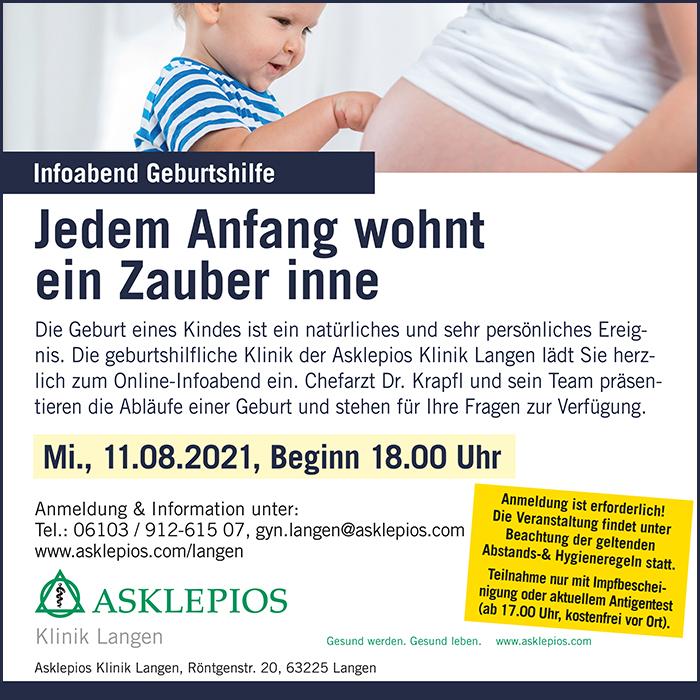 Anzeige der Asklepios-Klinik Langen