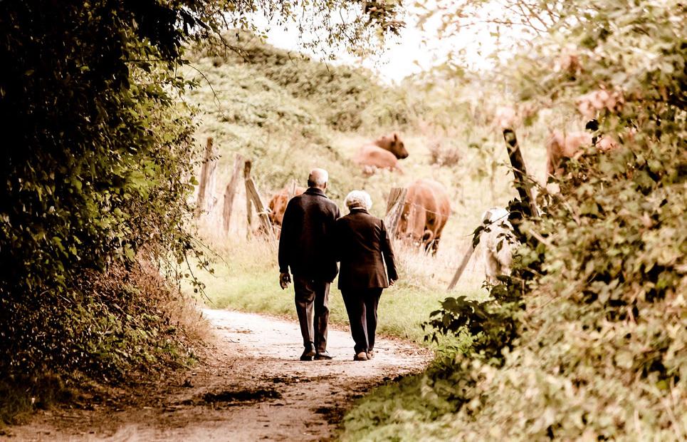 Älteres Ehepaar geht spazieren
